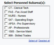 Select Personnel Subarea