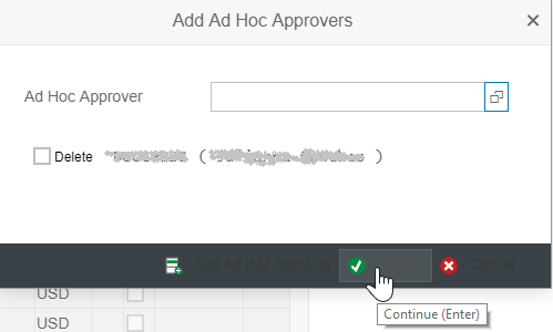 Selection Screen for Ad Hoc Approver showing check button
