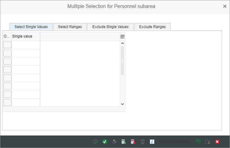 multiple selection dialog