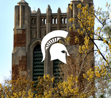 Photo of Beaumont Tower with the Spartan helmet on it.