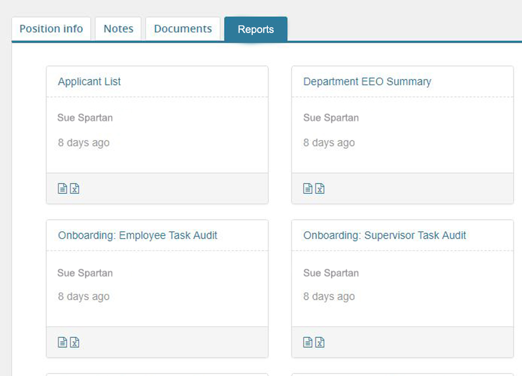 Job Card Reports Tab