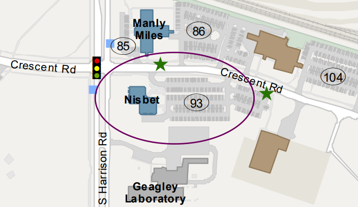 parking map for visitors to the Nisbet building. Employees and visitors should park in lot 93. There is metered parking for visitors without a valid employee parking pass.